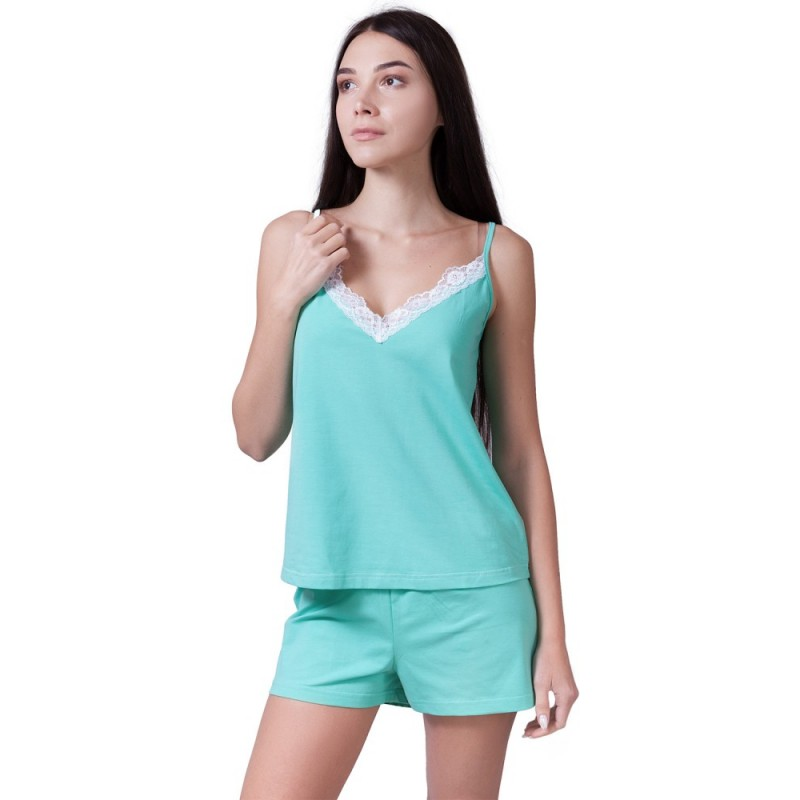 Жіноча піжама з шортиками м'ятного кольору VPL 039