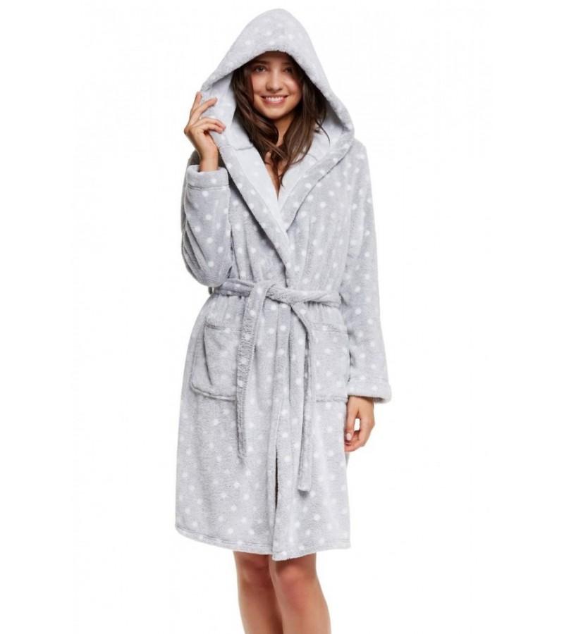 Сірий халат з плюшу HATTIE