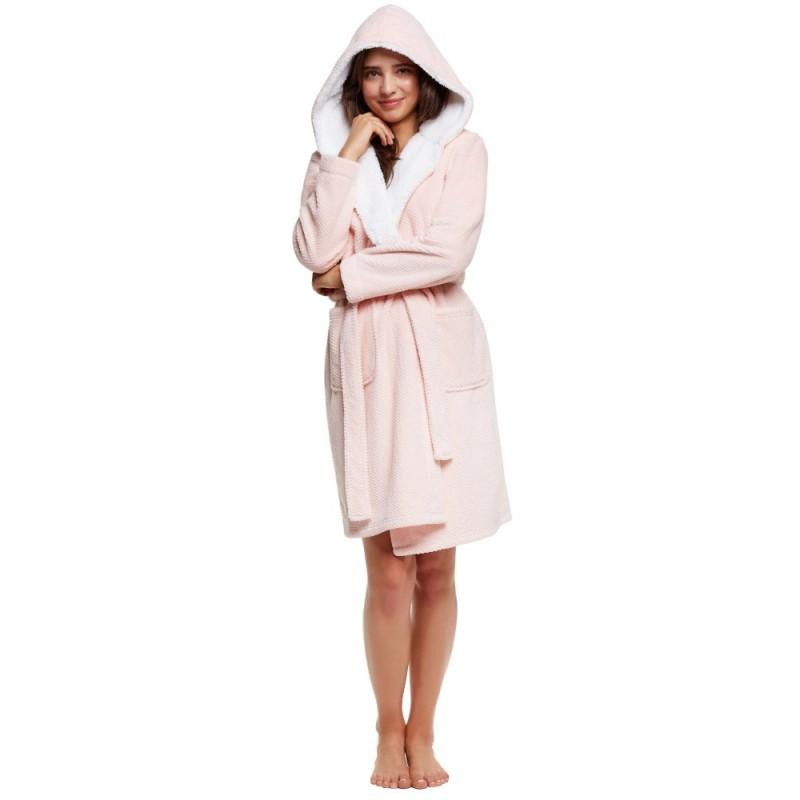 Плюшевий халат пудрового кольору HIDDEN