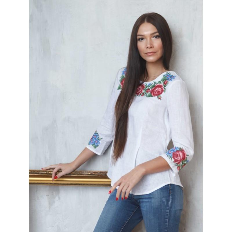 Розкішна вишита сорочка з льону Bl 130
