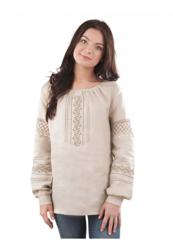 Класична жіноча вишита сорочка з довгим рукавом BL 192